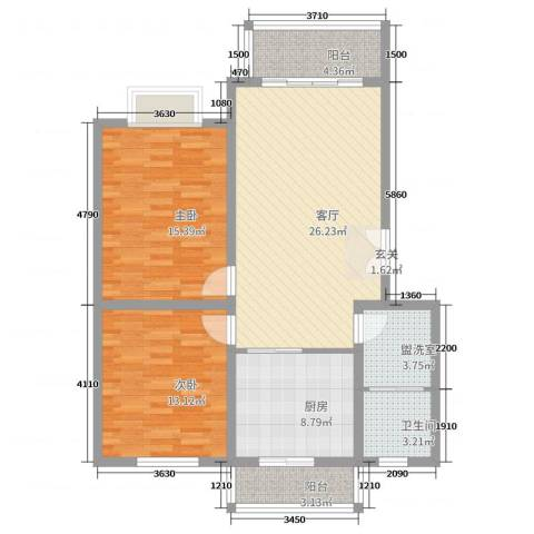 海德堡花园2室1厅1卫1厨108.00㎡户型图