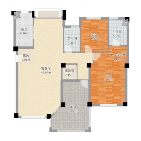 国贸金门湾2室2厅2卫1厨117.55㎡户型图