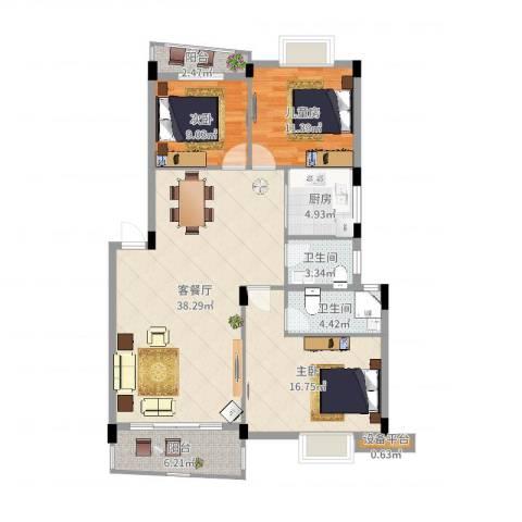 顺宝花园3室2厅2卫1厨122.00㎡户型图