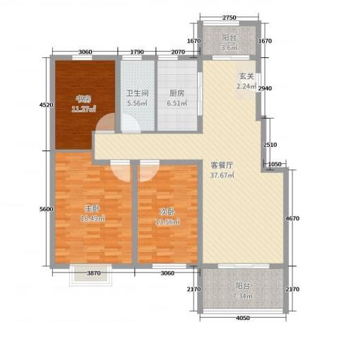 众城名府3室2厅1卫1厨129.00㎡户型图