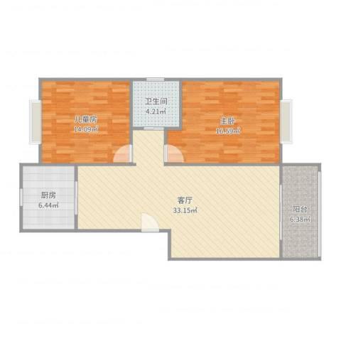 欣连苑2室1厅1卫1厨101.00㎡户型图