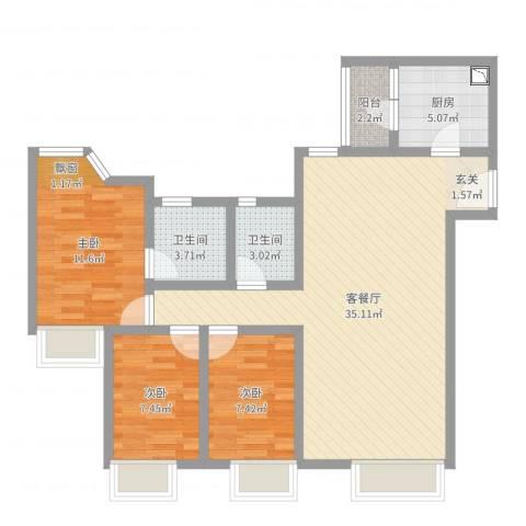 新世界东逸花园蓝谷3室2厅2卫1厨94.00㎡户型图