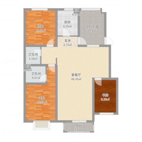 保利花园三期双河城3室2厅2卫1厨141.00㎡户型图