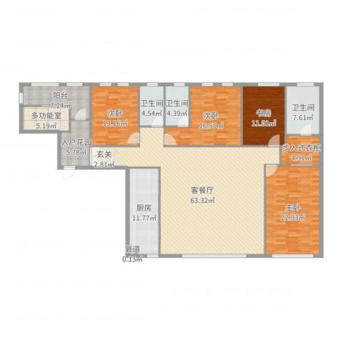 华尔顿12754室2厅3卫1厨224.00㎡户型图