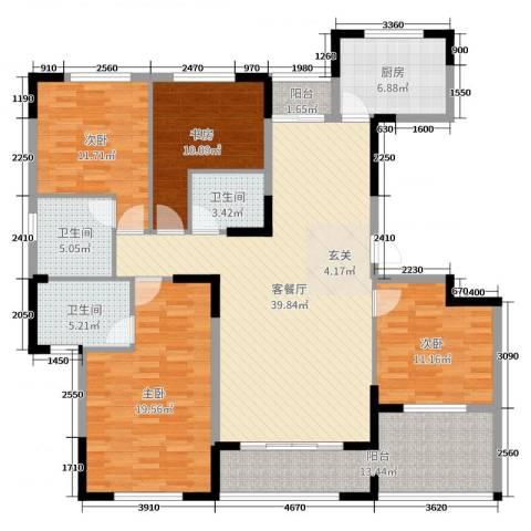 金海岸名邸4室2厅3卫1厨161.00㎡户型图