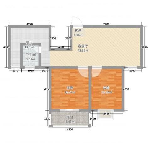 众城名府2室2厅1卫0厨100.00㎡户型图