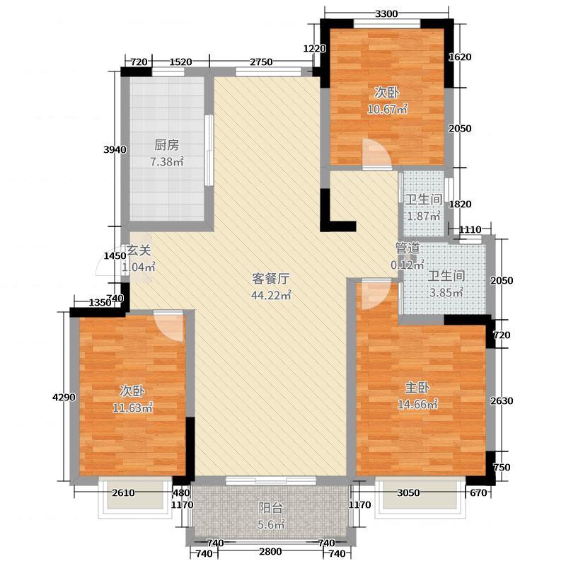 中冶盛世滨江125.00㎡一期锦绣江山标准层B2户型3室3厅2卫1厨