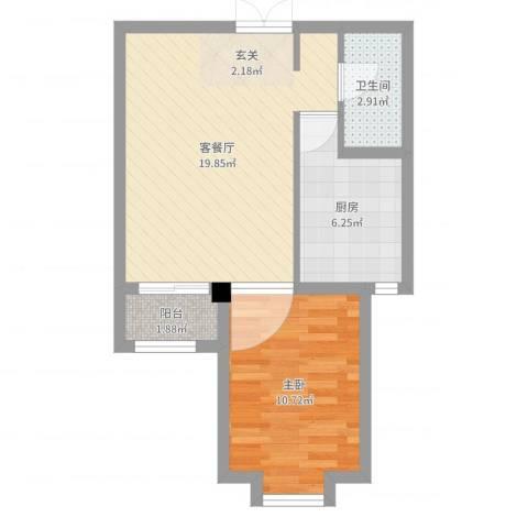 德荣帝景1室2厅1卫1厨52.00㎡户型图