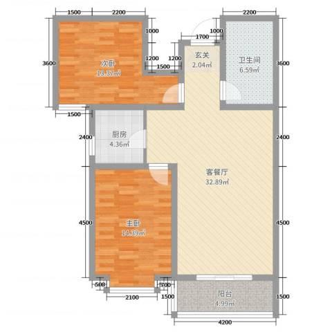 太原文兴苑2室2厅1卫1厨76.59㎡户型图