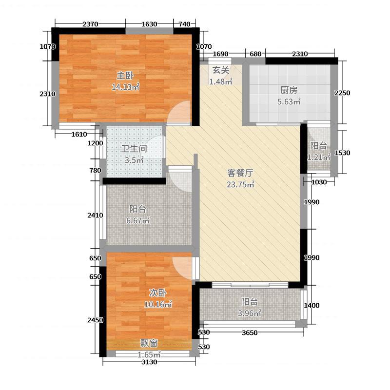 金色海伦湾89.57㎡3、4座02户型3室3厅1卫1厨