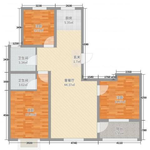 和美居3室2厅2卫0厨127.00㎡户型图