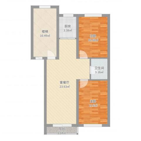 华锐塔湾欣城2室2厅1卫1厨81.00㎡户型图