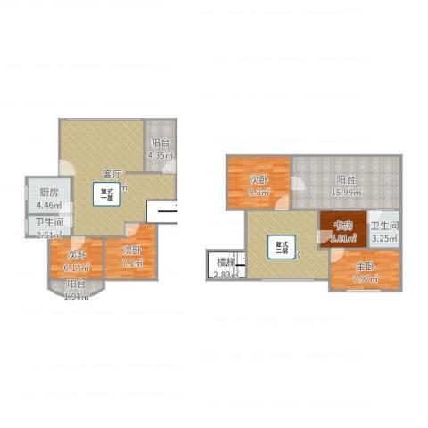 园林花园一期8-7A复式五房5室2厅2卫1厨143.00㎡户型图