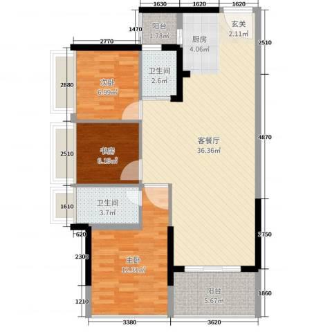 君跃荃新时代花园3室2厅2卫0厨90.00㎡户型图