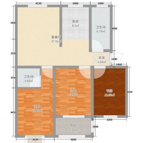 和美居3室2厅2卫0厨122.00㎡户型图