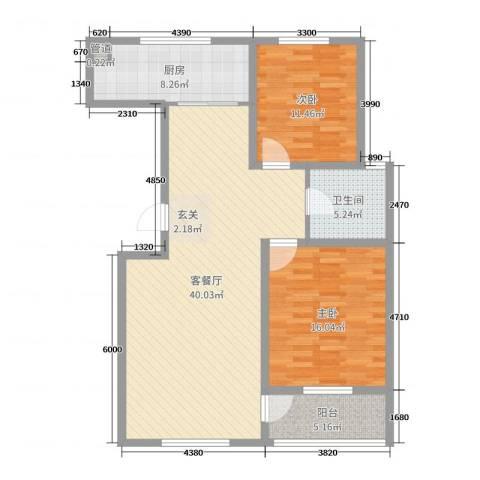 和美居2室2厅1卫1厨108.00㎡户型图