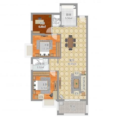 桃源华庭3室1厅2卫1厨111.00㎡户型图