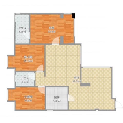 华润上地项目 华润橡树湾 华润置地橡树湾 学府树家园3室1厅2卫1厨107.00㎡户型图