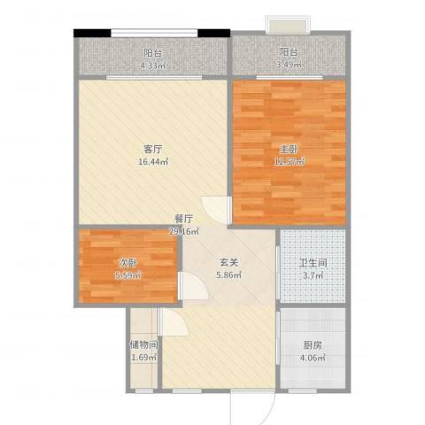 海源丽都2室1厅1卫1厨81.00㎡户型图