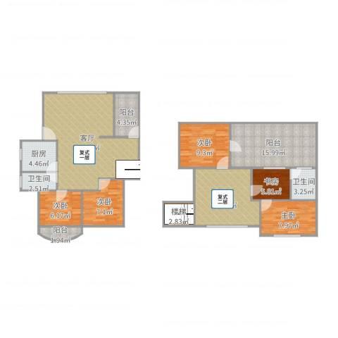 园林花园一期8-7A复式五房5室2厅2卫1厨144.00㎡户型图
