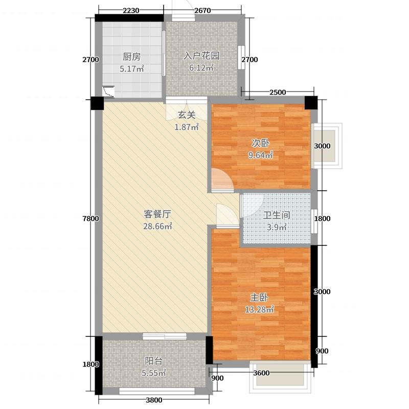 银滩万泉城2区90.05㎡8#、11#C3户型2室2厅1卫1厨