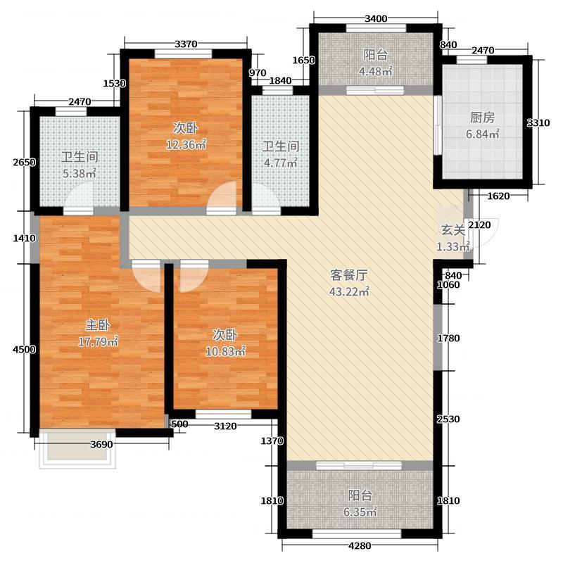 阳光城壹号140.00㎡高层C户型3室3厅2卫1厨