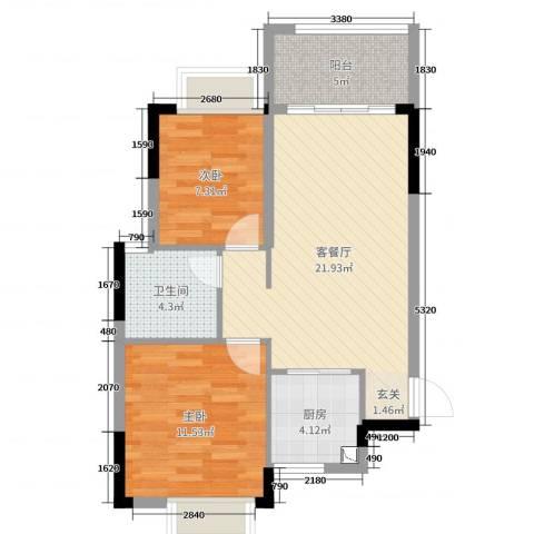 岭南世家・瑞府2室2厅1卫1厨74.00㎡户型图