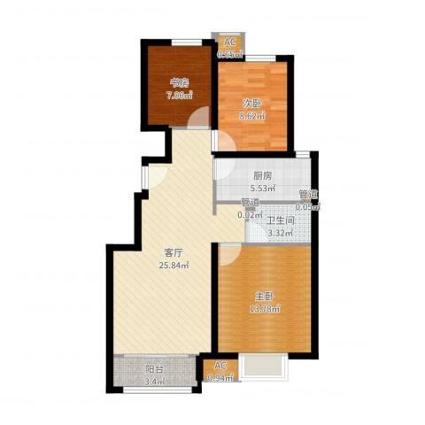 中国铁建·青秀尚城3室1厅1卫1厨86.00㎡户型图