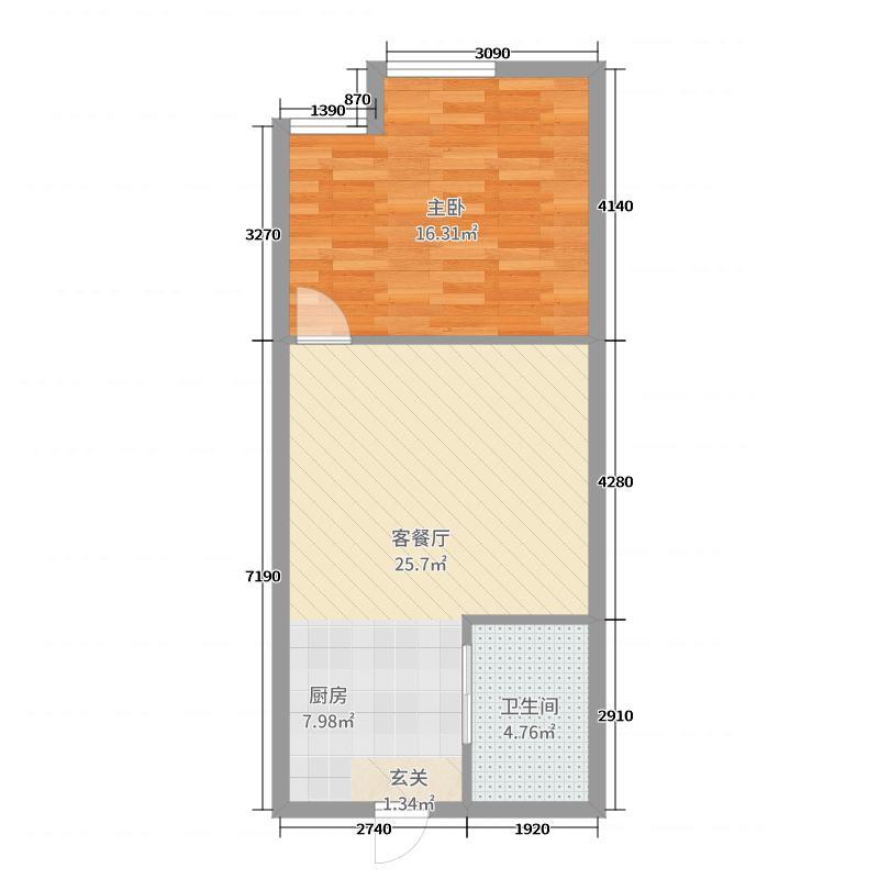 北部湾・双子星座58.46㎡E-02户型1室1厅1卫1厨