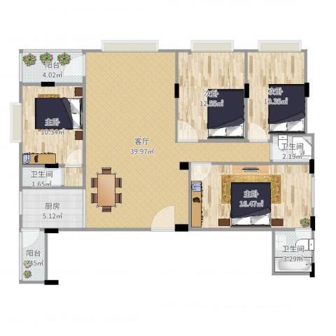 泽德花园4室1厅4卫1厨136.00㎡户型图
