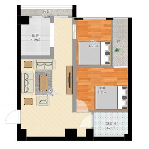 齐盛艺境2室1厅1卫1厨58.00㎡户型图