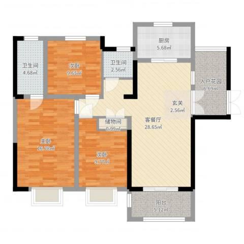 爱涛天岳城3室2厅2卫1厨113.00㎡户型图