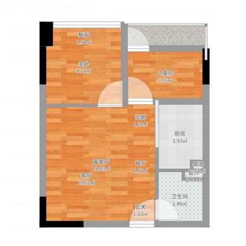 兰亭熙园2室2厅1卫1厨51.00㎡户型图