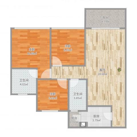 城东名门3室1厅2卫1厨84.00㎡户型图