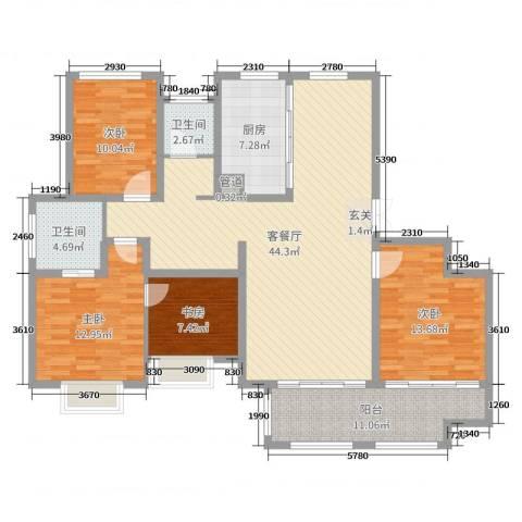 梅香雅舍4室2厅2卫1厨143.00㎡户型图