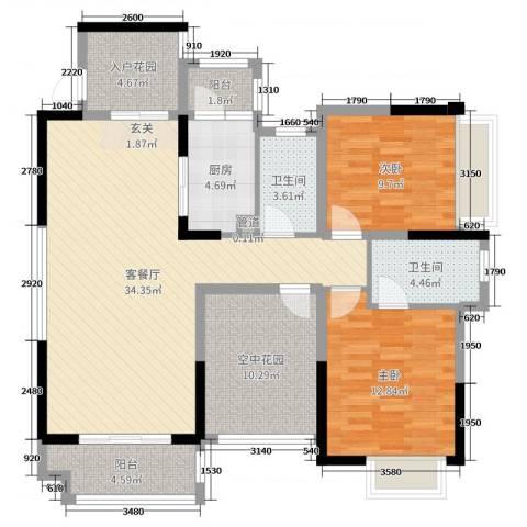 碧琴湾花园2室2厅2卫1厨108.00㎡户型图