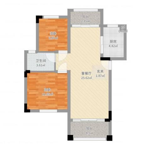 南沙碧桂园2室2厅1卫1厨74.00㎡户型图