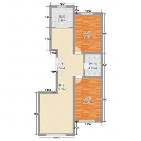 建发滨湖家园2室1厅1卫1厨104.00㎡户型图