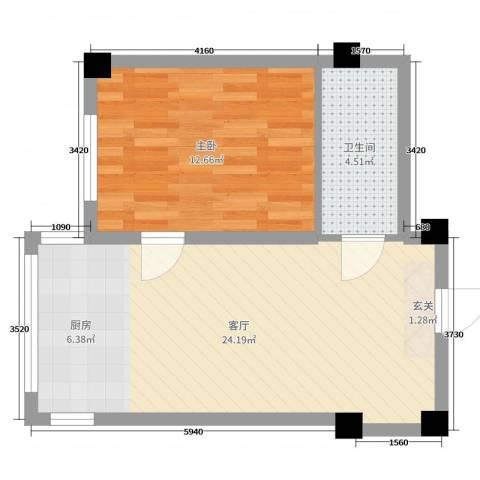 世纪阳光1室1厅1卫0厨53.00㎡户型图