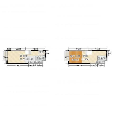 保利花园2厅2卫0厨48.86㎡户型图