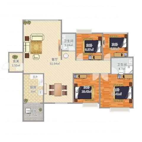 中港世纪嘉城4室1厅2卫1厨149.00㎡户型图
