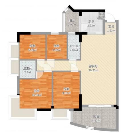 金辉新苑4室2厅2卫1厨103.00㎡户型图