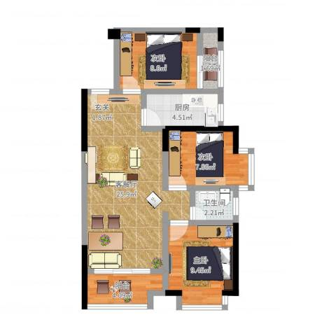 鸿翠阁3室2厅1卫1厨64.32㎡户型图