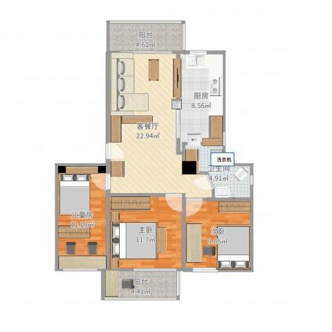 黄石花园3室2厅1卫1厨98.00㎡户型图