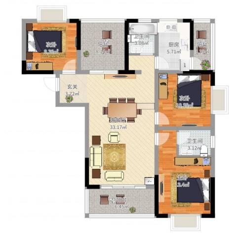 枫树园二期3室2厅2卫1厨120.00㎡户型图