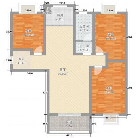 万象湾3室1厅2卫1厨104.00㎡户型图