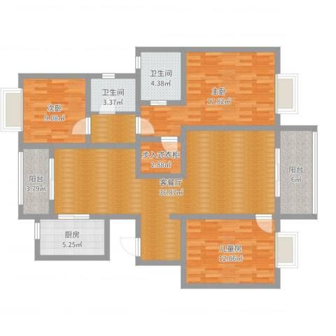西溪蝶园二期3室2厅2卫1厨132.00㎡户型图