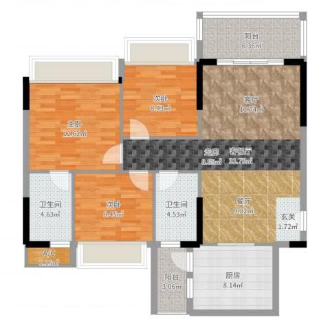 万好美域3室2厅2卫1厨111.00㎡户型图