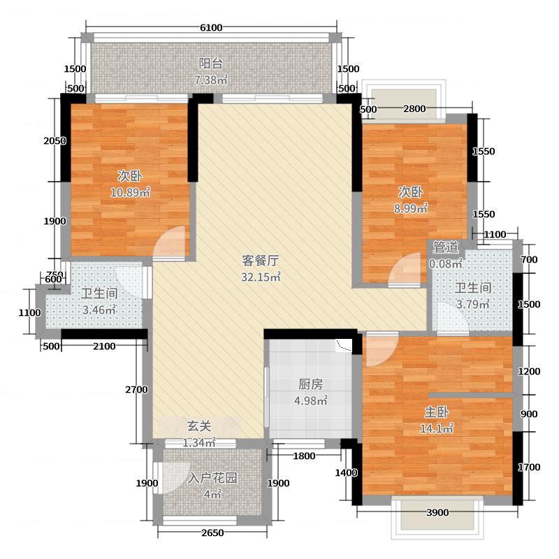 北大资源・博雅1898117.00㎡5栋A2单元户型3室3厅2卫1厨