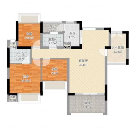 幸福枫景花园3室2厅2卫1厨91.00㎡户型图